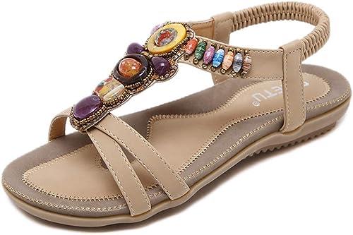 L-X Sandales Bohémiennes pour pour Les Femmes Lanières D'été Fleur Marche Chevrons Sangle Cheville Ethnique Perlé Grande Taille Chaussures Plates, Beige, 40 UE  les clients d'abord la réputation d'abord