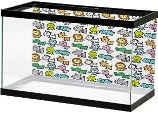 bybyhome Fish Tank Doodle,Cartoon Style Animals Lion Zebra Frog Dinosaur Crocodile Bat Rhino Fun Illustration,Multicolor on The Backside