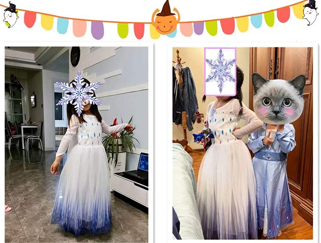 Princess Dress up Costume Girls Ice 2 Halloween Birthday Party Cosplay Outfit for Little Child Kid Teen