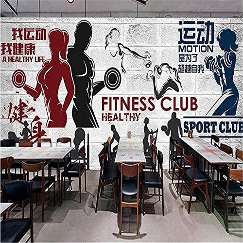 Wallpaper Wandbild 3D Sport Gym Wallpaper Regal Graffiti Taekwondo Boxen Hintergrund Wallpaper Muskel Männlich Brick Wall Benutzerdefinierte Wandbild-300×210Cm
