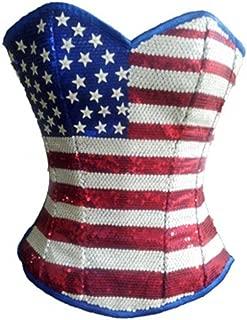 USA Flag Satin Sequins Gothic Burlesque Bustier Waist Training Overbust Corset