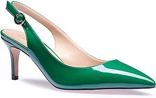 76606d364cc9 SUNETEDANCE Women s Slingback Pumps Pointed Toe Kitten Heels Sandals Slip  On Stiletto Mid Heels Shoes