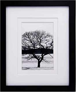 Egofine 8x10 Picture Frame - Made of Solid Wood for Table Top Display and Wall Mounting Photo Frame Black