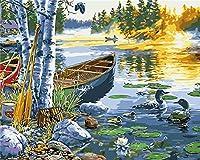 番号でペイントDIY油絵船ガチョウの風景40x50cm子供と大人と初心者のための番号でペイントDIY油絵ギフトキットキャンバス