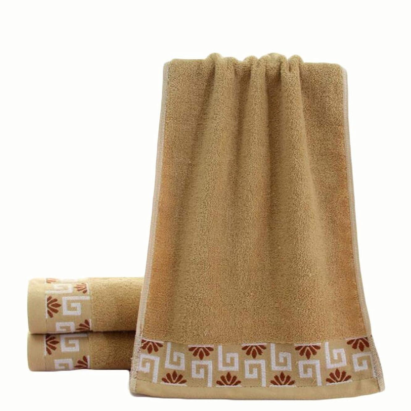 逸脱準備した近々CXUNKK 2PCS / LOT家庭用増粘吸収ジャカード綿タオル (Color : Coffee)