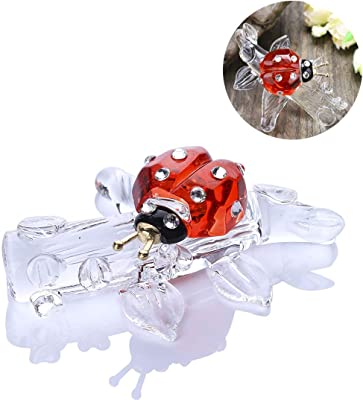 HDCRYSTALGIFTS Crystal Ladybug Figurine Animals Ornament Collectible Gifts Yellow Statues Home Table Decoration