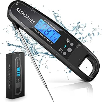[Latest 2020] AMAGARM Meat Food Thermometer for Grill and Cooking, 2S Best Ultra Fast Instant Read Waterproof Digital Kitchen Thermometer Probe for Grilling, BBQ, Baking, Candy, Liquids, Oil