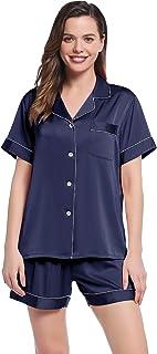 Joyaria Satin Pajamas Short Sleeve Button Down Sleepwear with Pocket Nightwear