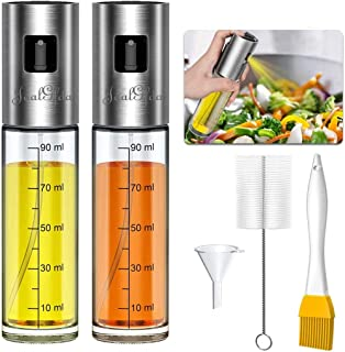 JoalGfda Botella de pulverizador de aceite de oliva Dispensador de aceite con escala Botella de spray portátil de grado al...