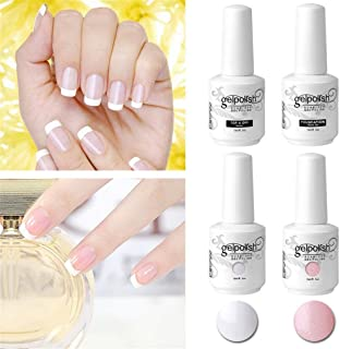 Elite99 Esmaltes Semipermanentes Manicura Francesa en Gel UV LED 4pcs Kit con Base y Top Coat Esmalte de Uña Soak off 15ml