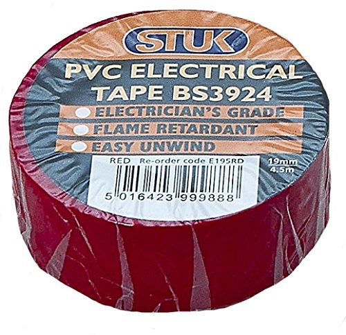 Stuk e195rd bs3924elettrico in PVC 19mm x 4,5m rotolo di nastro, colore: rosso (Confezione da 10)