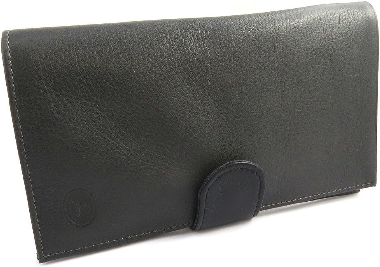 Leather checkbook holder 'Frandi' black dark grey.