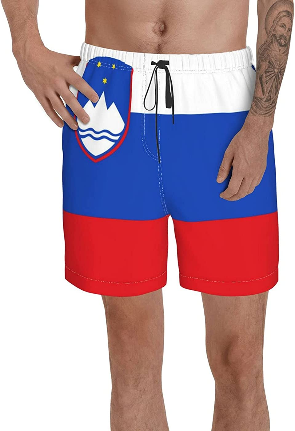 Count Slovenia Flag Men's 3D Printed Funny Summer Quick Dry Swim Short Board Shorts with