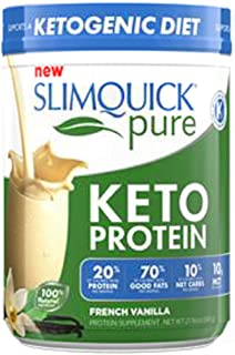 SLIMQUICK Pure Keto Protein Powder, French Vanilla, 21.16 oz