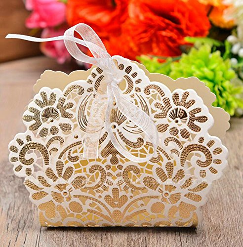 Zorpia 50 Pack Romantic Wedding Gift Box Decoration Flower Bride Laser Cut Party Sweet Favors Wedding Paper Candy Box (Ivory)