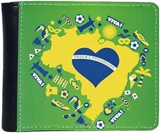 Heart-shaped Orderm E Proresso Slogan Soccer Palm Brazil Maps Flip Bifold Faux Leather Wallet Multi-Function Card Purse Gift