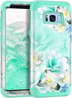 Casetego Compatible with Galaxy S8 Case,Floral Three Layer Heavy Duty Hybrid Sturdy Shockproof Full Body Protective Cover ...
