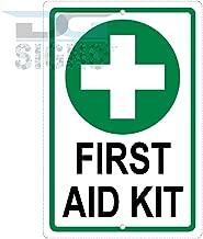 First Aid Kit Green Cross Symbol Aluminum Sign