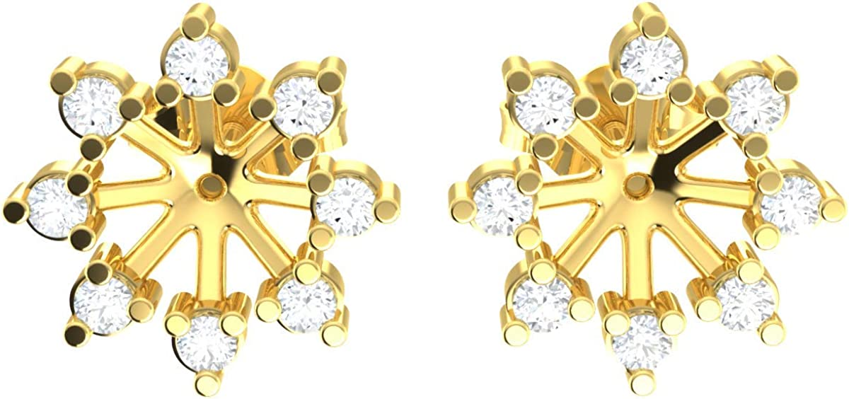0.33ct Round Cut Diamond 10k Gold Earrings For Women Halo Flower Jacket HI Color SI2 Clarity
