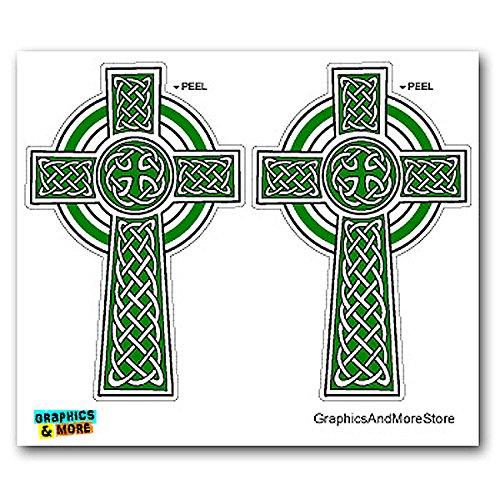 Graphics and More Celtic Christian Cross - Irish Ireland Scotland Scottish - Green White - Set of 2 - Window Bumper Locker Stickers