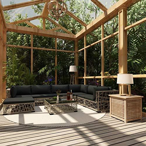 Festnight Set de Muebles de Jardín 8 Pzas y Cojines Ratán Sintético Gris, Conjunto de Comedor de Exterior Conjunto de Terraza Muebles de Jardín de Comedor para Terraza Patio Salón