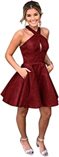 Jonlyc Glitter A-Line Halter Sleeveless Short Homecoming Dresses with Pockets