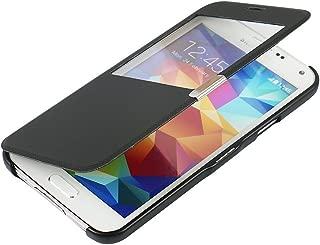 S5 Case, Galaxy S5 Case, MTRONX Window View Magnetic Closure Twill PU Leather Ultra Folio Flip Slim Case Cover for Samsung Galaxy S5 - Black(MG1-BK)