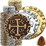 Pirate Coins - 102 Bronze, Silver & Gold Treasure Coin Set, Metal Replica Spanish Doubloons for Board Games, Tokens, Cosplay - Realistic Money Imitation, Pirate Treasure Chest - M, L. XL Sizes Mix
