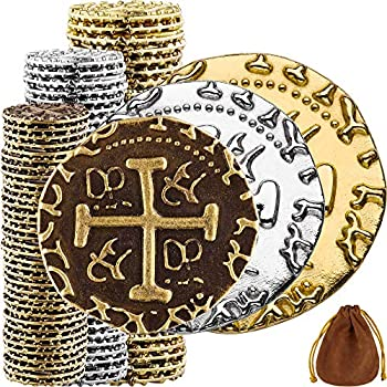Pirate Coins - 102 Bronze Silver & Gold Treasure Coin Set Metal Replica Spanish Doubloons for Board Games Tokens Cosplay - Realistic Money Imitation Pirate Treasure Chest - M L XL Sizes Mix