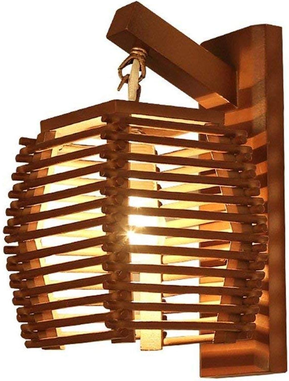SGWH Nordic massivholz wandleuchte, mini braun led holz dekorative wandleuchte vintage persnlichkeit schlafzimmer studie wohnzimmer wandleuchten e27 lampenfassung