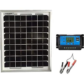SAYA 12vバッテリーへ充電用 10W ソーラーパネル1枚 10A 12v/24v コントローラーつき
