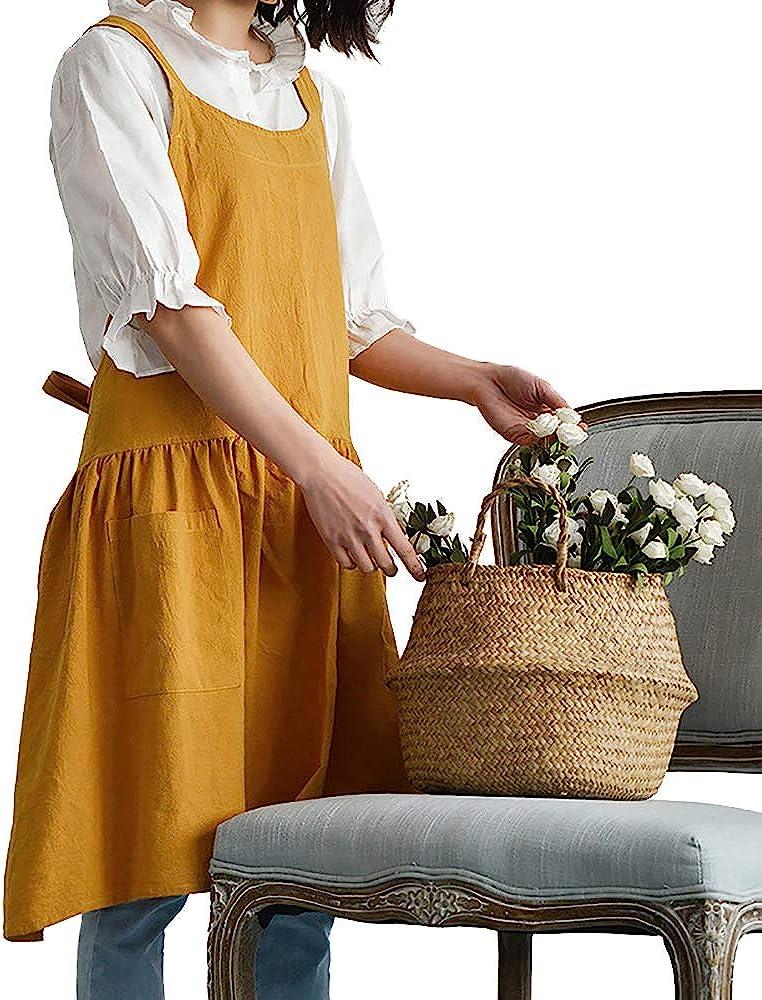 Cottagecore Clothing, Soft Aesthetic Nanxson Soft Cotton/Linen Blend Apron - Cross Back Apron Japanese Apron Perfect for Cooking Gardening CF3089  AT vintagedancer.com