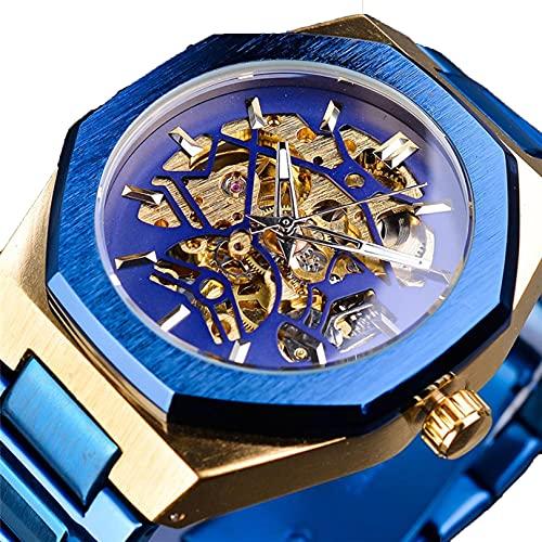 Excellent Relojes mecánicos automáticos de los Hombres Análogos con Correa de Acero Inoxidable Sports Skeleton Wristwatch Watch Dial Octogonal con Manos Luminosas,A01