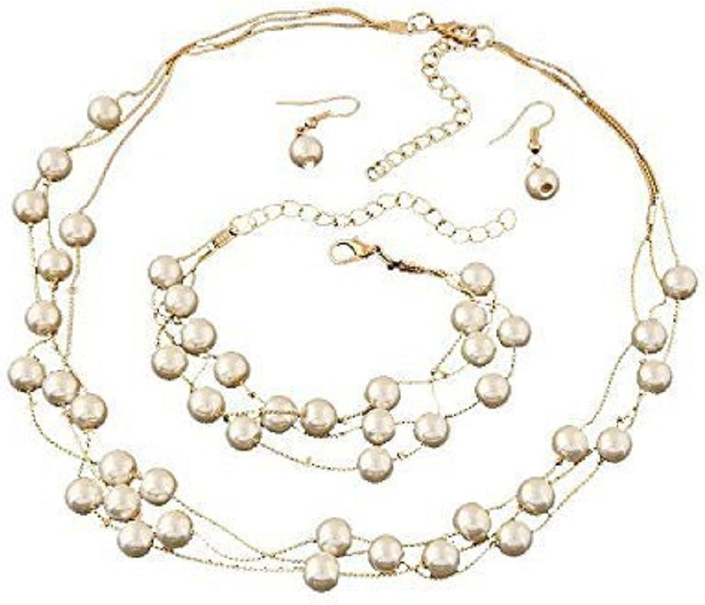 Glitz Necklace Set Diva Pearl Jewellery Set for Women with Bracelet