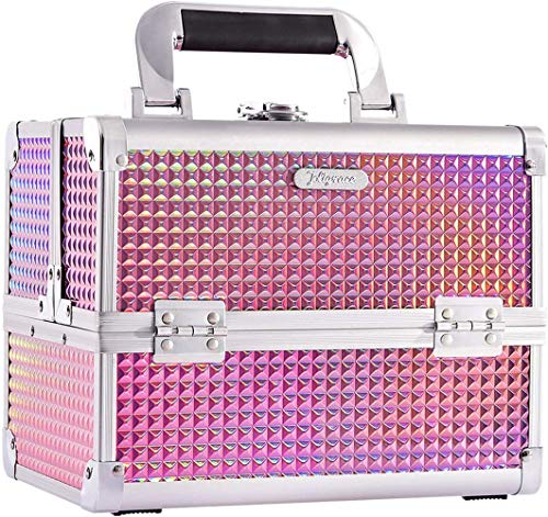 SNV Makeup Box Vanity Case Cosmetic Organiser Box Beauty Storage Train Case with Mirror, Lockable,Holographic Pink