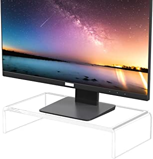 [Upgraded] NIUBEE Premium Clear Computer Monitor Stand, Acrylic Monitor Stand for Desk, Stand, Great for Laptop/Desktop Co...