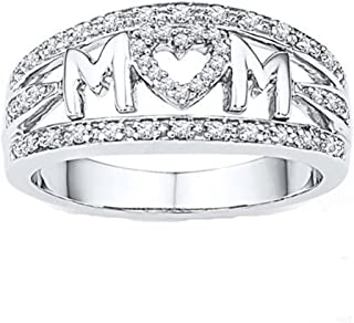Myhouse Women Girls 18k White Gold Plated Rhinestone Heart Ring MOM Letter Ring for Mother's Day Gifts (7)