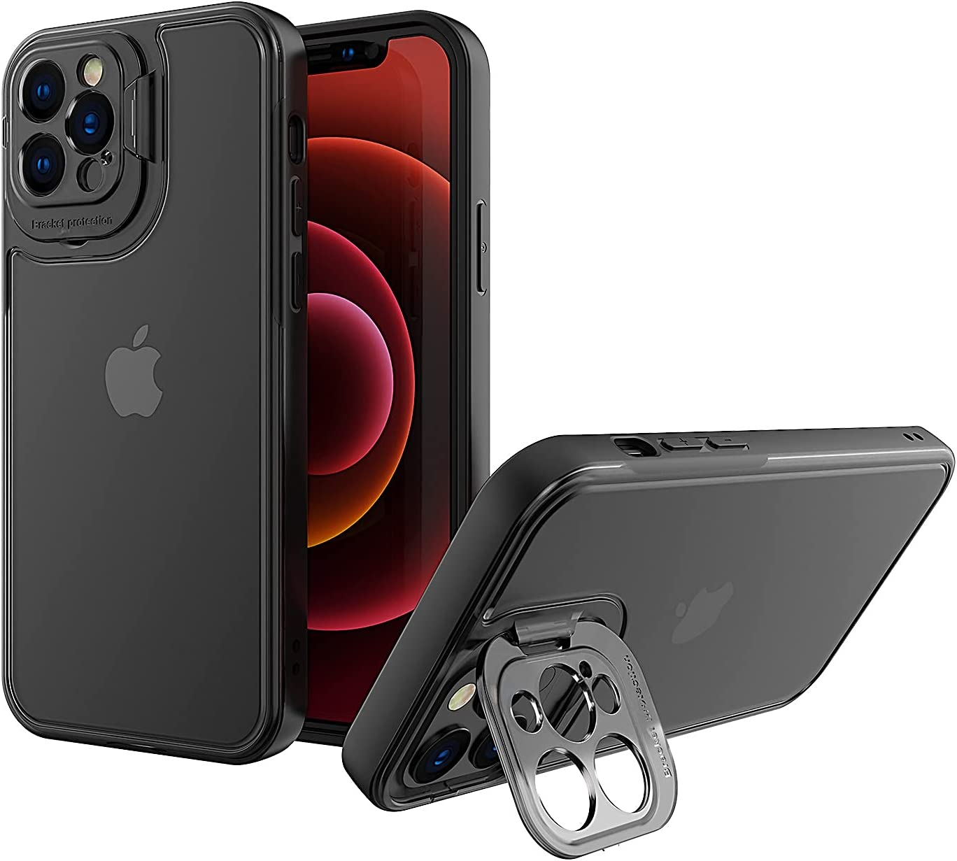TPU PC Cover Transparent Camera Lens Kickstand Phone Case Compatible with iPhone 13 Pro Max 2021 6.7 inch [Upgraded Materials] [Drop Protective] Hard PC Back with Flexible TPU Bumper (Black)