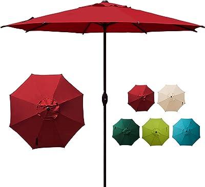 Abba Patio Outdoor 9 Feet Patio Market Table Umbrella with Push Button Tilt and Crank, Red