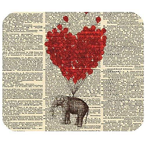 Olifant Rode Ballon Vintage Woordenboek Pagina Kunst Gaming Muis Mat Mousepad 30 * 25 * 0,3 cm met Antislip Rubber Achterkant