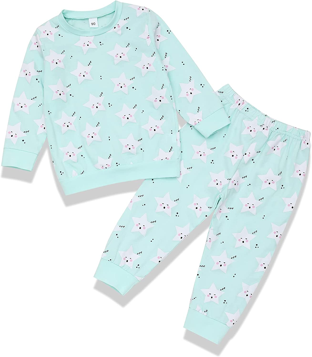 Xuuly Toddler Girl Outfits Star Pattern Long Sleeve Sweatshirts Tops+Pants Toddler Girl Clothes