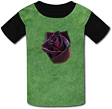 Round Neck Polyester Fiber Soft Short Sleeve Top Tshirts For Unisex Child,Print Black Baccara Rose