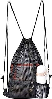 Heavy Duty Mesh Drawstring Bag, Sport Equipment Storage Bag for Beach, Swimming (Black)