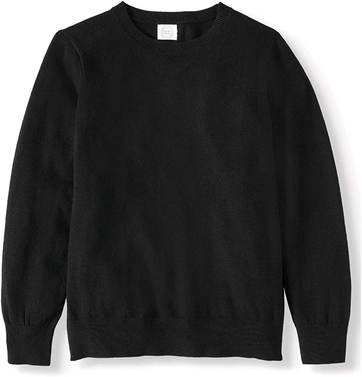 Boys Wonder Nation Long Sleeve Crewneck Sweater, Black, (Large, 10-12 Husky)