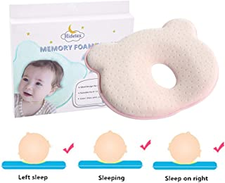 Hidetex Baby Pillow - Preventing Flat Head Syndrome (Plagiocephaly) for Your Newborn Baby,Made of Memory Foam Head- Shaping Pillow and Neck Support (0-12 Months)(Pink)