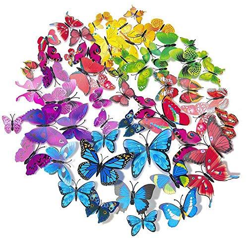 LIZHIGE Papillons Décoration,60 Pièces 3D Papillons Papiers Décoration Bricolage papillon amovible,pour Décoration de Maison et de la Chambre (5 Couleurs)