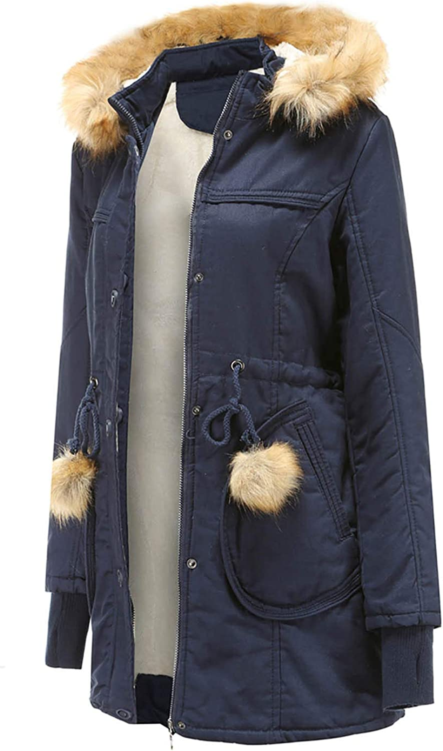 DAIFINEY Damen Mantel Jacke Parka Winterparka mit Kapuze warm gefüttert Wintermantel Winterjacke Winter Coat Outwear 2-blau/Dark Blue