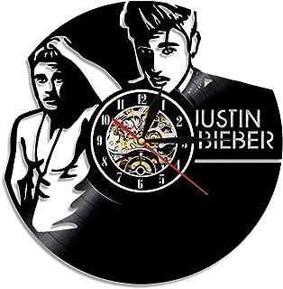 jiangyingpan Registro Reloj de Pared Retro nostálgico Justin Bieber Vinilo Cuarzo Vinilo decoración Simple Sala de Estar Reloj de Pared