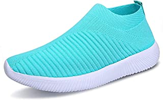 Women's Lightweight Running Athletic Sneakers Comfortable Breathable Mesh Slip-on Walking Tennis Shoes