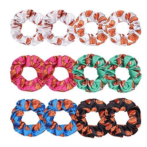 12PC Hair Scrunchies for Women, MTSCE Football Velvet Elastics Bobbles Hair Bands Hair Tie Ropes Ponytail Holders for Women Girls Xmas Hair Accessories(C Style)